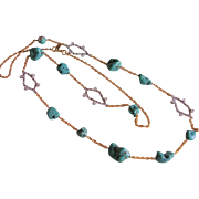 """Alexis Bittar Chain Necklace Turquoise & Rhinestone Stations  45"""" Long - Designer Signed"""
