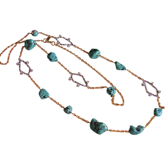 "Alexis Bittar Turquoise Necklace with Rhinestone Stations  45"" Long - Designer Signed"