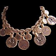 "Oscar de la Renta Coin Necklace  - Faux Greco-Roman Coins 24 Kt. Gold Plated ""Russian"" Gold Patina"