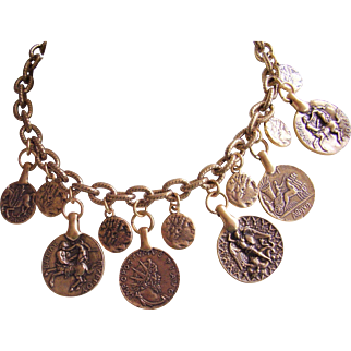 "Oscar de la Renta Coin Necklace  - Faux Greco-Roman Coins 24 Kt. Gold Plated ""Russian"" Gold Patina"