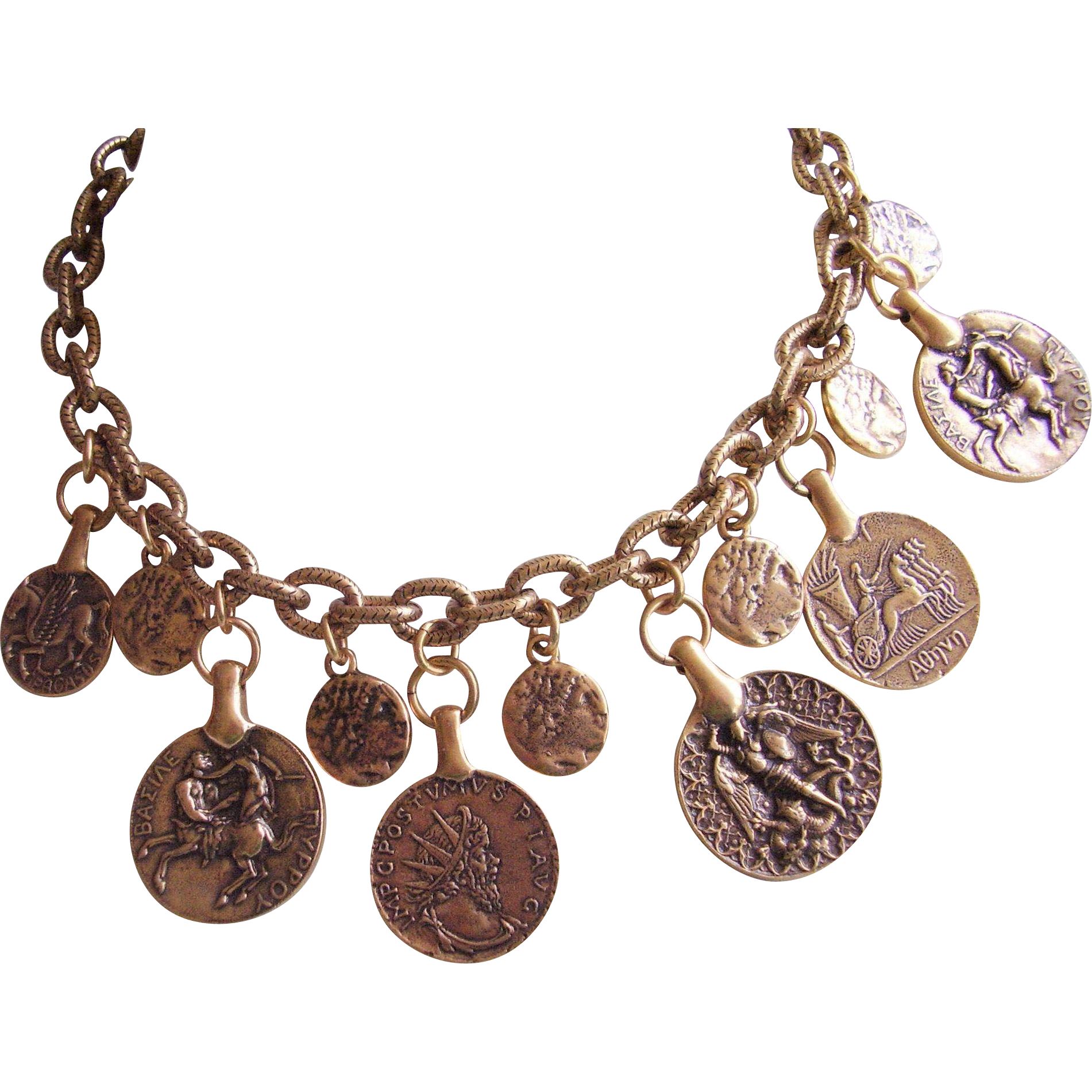 gold necklace mixed aries chain mix product roman coin