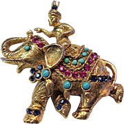 Vendome Elephant Pin Encrusted with Faux Jewels - Rare Vintage Book Piece Designed by Gene Verri