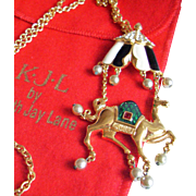 Kenneth Jay Lane KJL Camel Necklace Pin Enhancer Pendant - Rare Figural Book Piece Vintage 1994