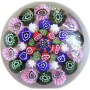 Baccarat Crystal Millefiori Paperweight - Colorful Concentric Design -  Made in France