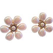 "Carol Dauplaise Vintage 1980's Faux Pearl Clip Earrings - Bold 1-1/4"" Diameter"