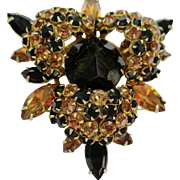 "Schreiner New York - Vintage Brooch Pin/Pendant - Jet Black & Topaz Rhinestones - 2-1/2"" - Designer Signed 1950's"