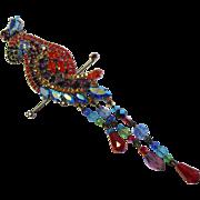 "Butler & Wilson  B&W Vintage Parrot Pin - 1970's - Swarovski Crystals - 6"" Long"