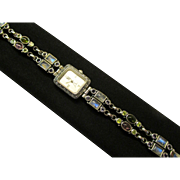 "Nicky Butler NB Sterling Silver Watch - 54 Grams -  Multi Gemstone Bracelet Quartz Watch 7-1/4"" - 7-3/4"" Length"
