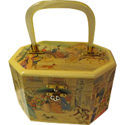 Vintage Decoupage Wood Box Bag with Lucite Handle - Victorian Village Scene Style of Anton Pieck - Mid 1960's - Early 70's