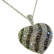 "14 Kt. Gold Heart Pendant - Champagne & White Diamonds  Pave Swirl Design with 18"" 14Kt. Chain - 4.8 Grams"