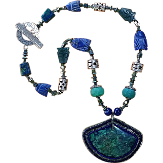 Azurite and Malachite Necklace, Hand-Beaded Cabochon Pendant, Sweetpea Cottage Artisan Made
