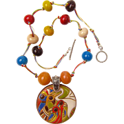 Colorful Necklace with Our Own Glass Beads and a Golem Ceramic Pendant