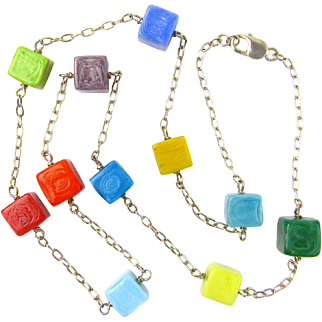 Chained Cubist Necklace with Our Own Glass Beads