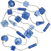 Got Denim? Long, Geometric Necklace with Our Own Glass Beads