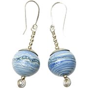 Got Denim?  Gorgeous Earrings with Large, Hollow Lampwork Beads