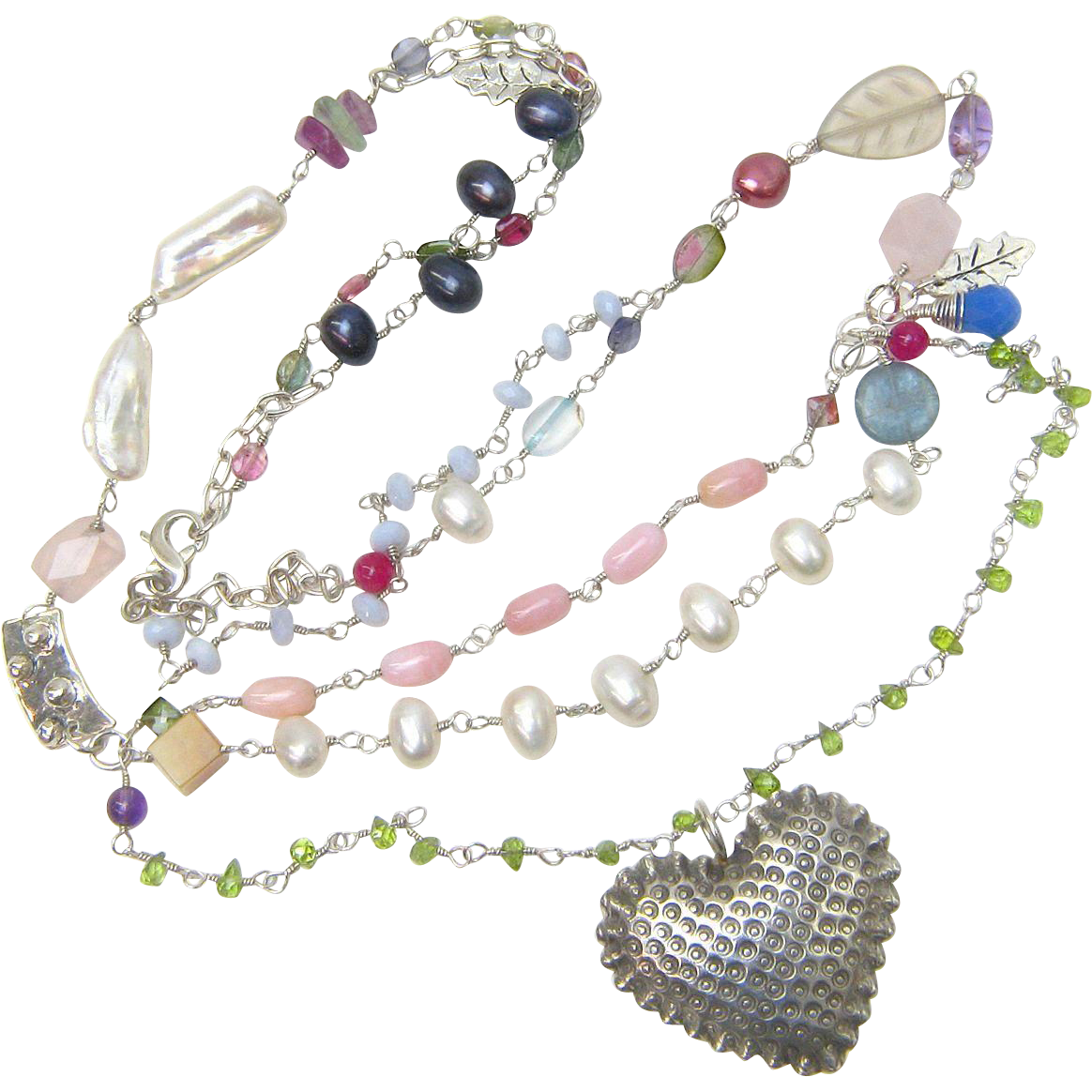 Spectacularly Long Sterling Necklace with Pearls and Many Types of Gemstones