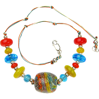 Colorful Paperweight Necklace with Our Own Handmade Lampwork Beads