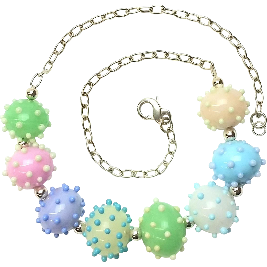 Charming Glass Bubble and Dot Necklace with Our Own Glass Beads