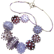 Gorgeous Necklace Made of Hollow Glass Beads in Shades of Purple