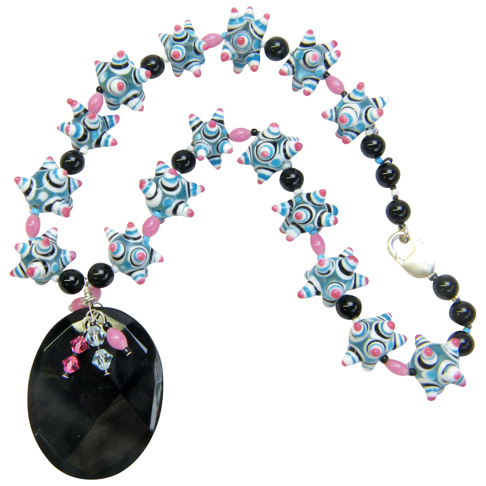 Whimsical Glass & Onyx Necklace w/ Hand-Carved Pendant