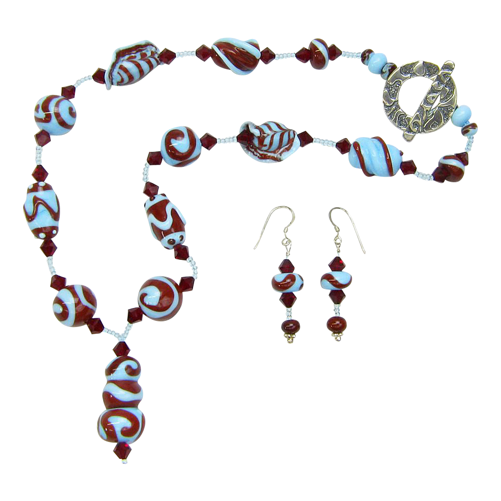 Robin's Egg Blue and Red Swirl Necklace w/Lampworked Beads