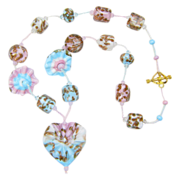 Sky Blue and Pink Aventurine Necklace w/ Our Own Lampworked Glass Beads