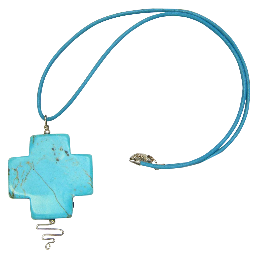 Leather Necklace with Stabilized Turquoise Cross Pendant
