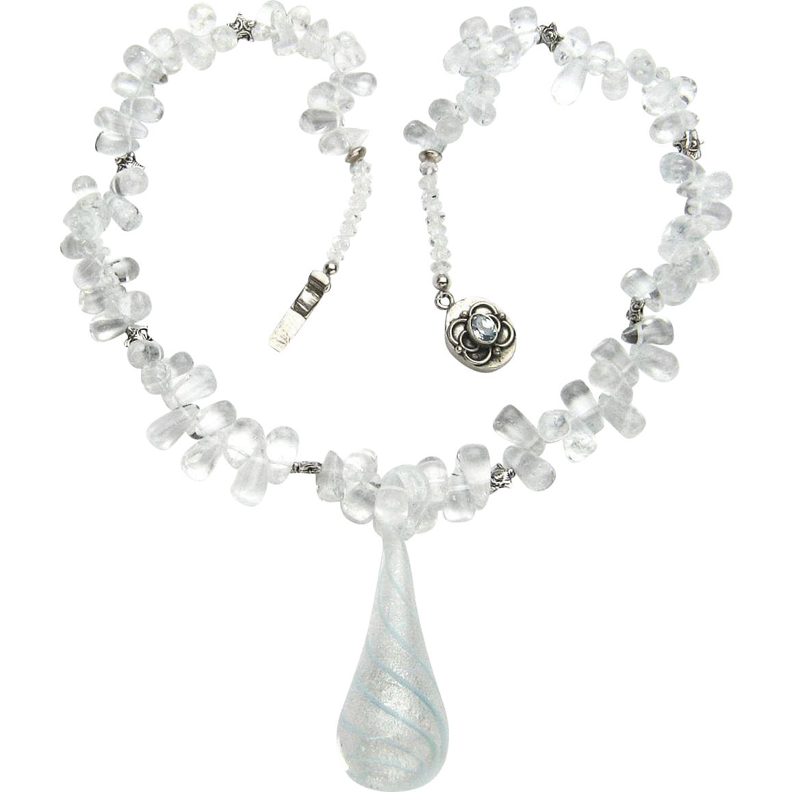 delicate blue quartz briolette necklace from