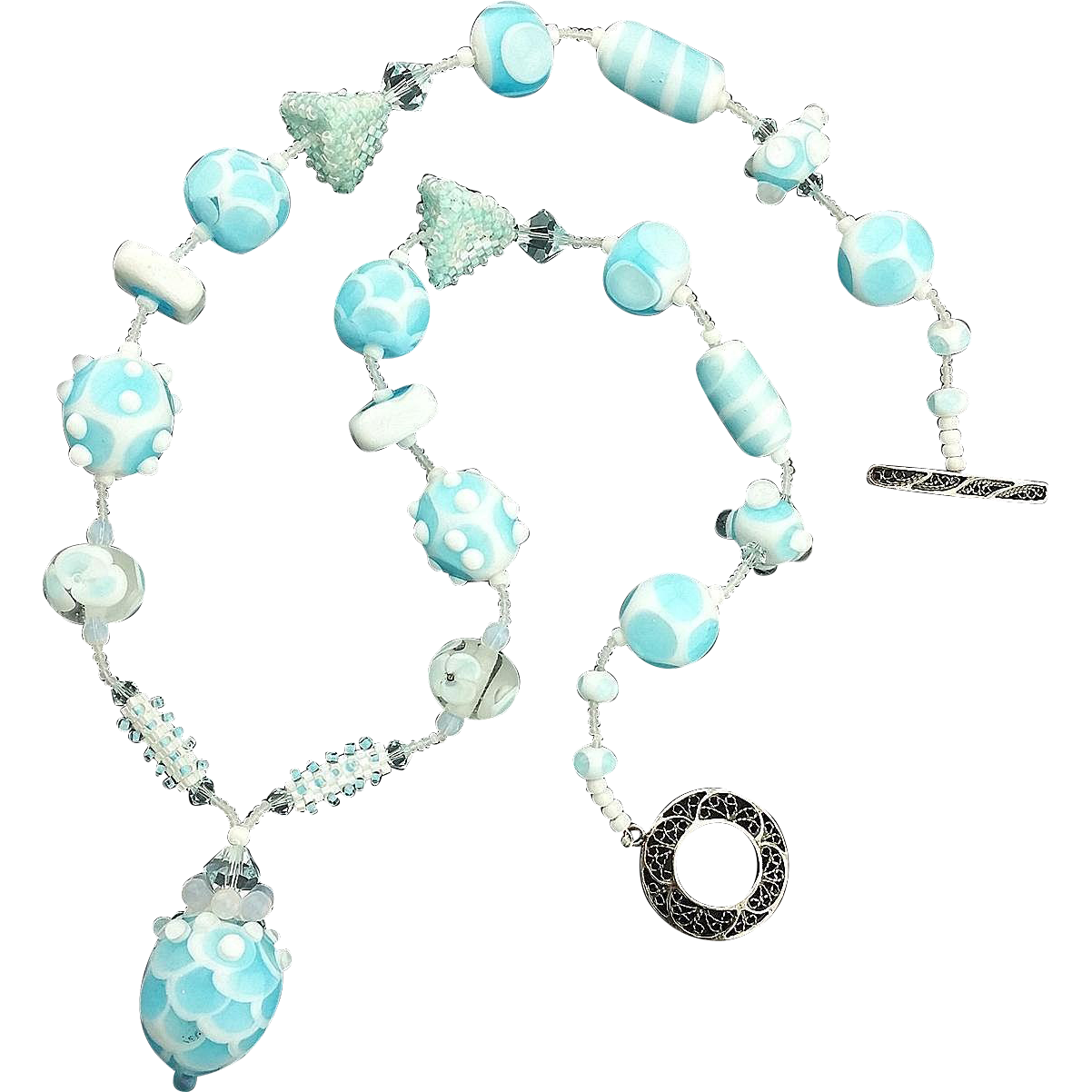 Dreamy Sky Blue Opalescent Necklace, Lampwork Beads, Artisan Crafted at Sweetpea Cottage