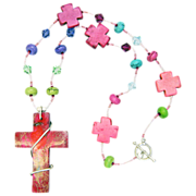 Large Wire-Wrapped Cross on One-of-a-Kind Rainbow Necklace