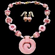 Gossamer Pink Necklace w/ Hand-Carved Pink Opal Pendant