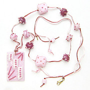 """Beribboned in Pinks"" Necklace with Our Own Lampwork and Fused Glass"