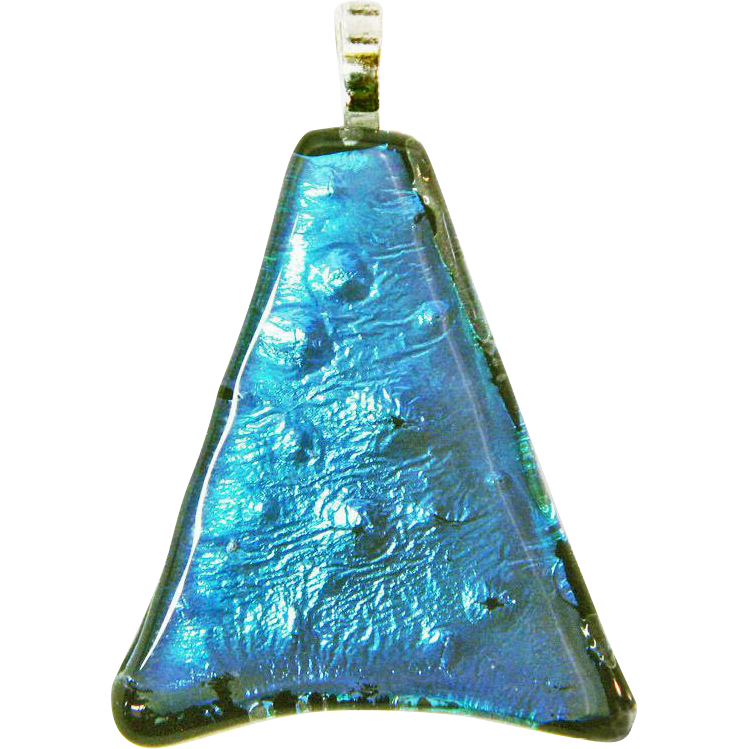 Shark Skin Dichroic Fused Glass Pendant Component w/ Bail – Ready to String