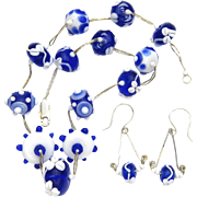 Colors of Delft--Lampwork Glass Necklace and Earrings, Artisan Crafted
