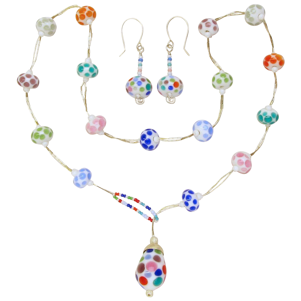 Polka Dots Lampwork Lariat Necklace with Matching Earrings