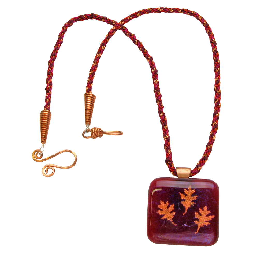 Gorgeous Fused Glass w/ Copper Leaves Pendant Necklace on Kumihimo Braid