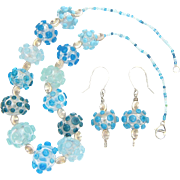 Stunning Lampwork Beaded Necklace and Earrings in Marine Colors