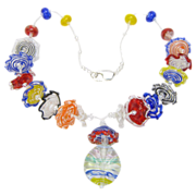Lampworked Glass Ruffles Beads, Multi-Colored Necklace, Artisan Crafted at Sweetpea Cottage