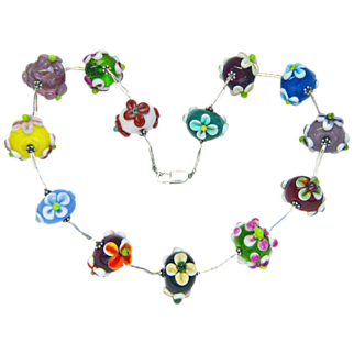 Lampwork Flowery Glass Bead Choker from Sweetpea Cottage  Studio