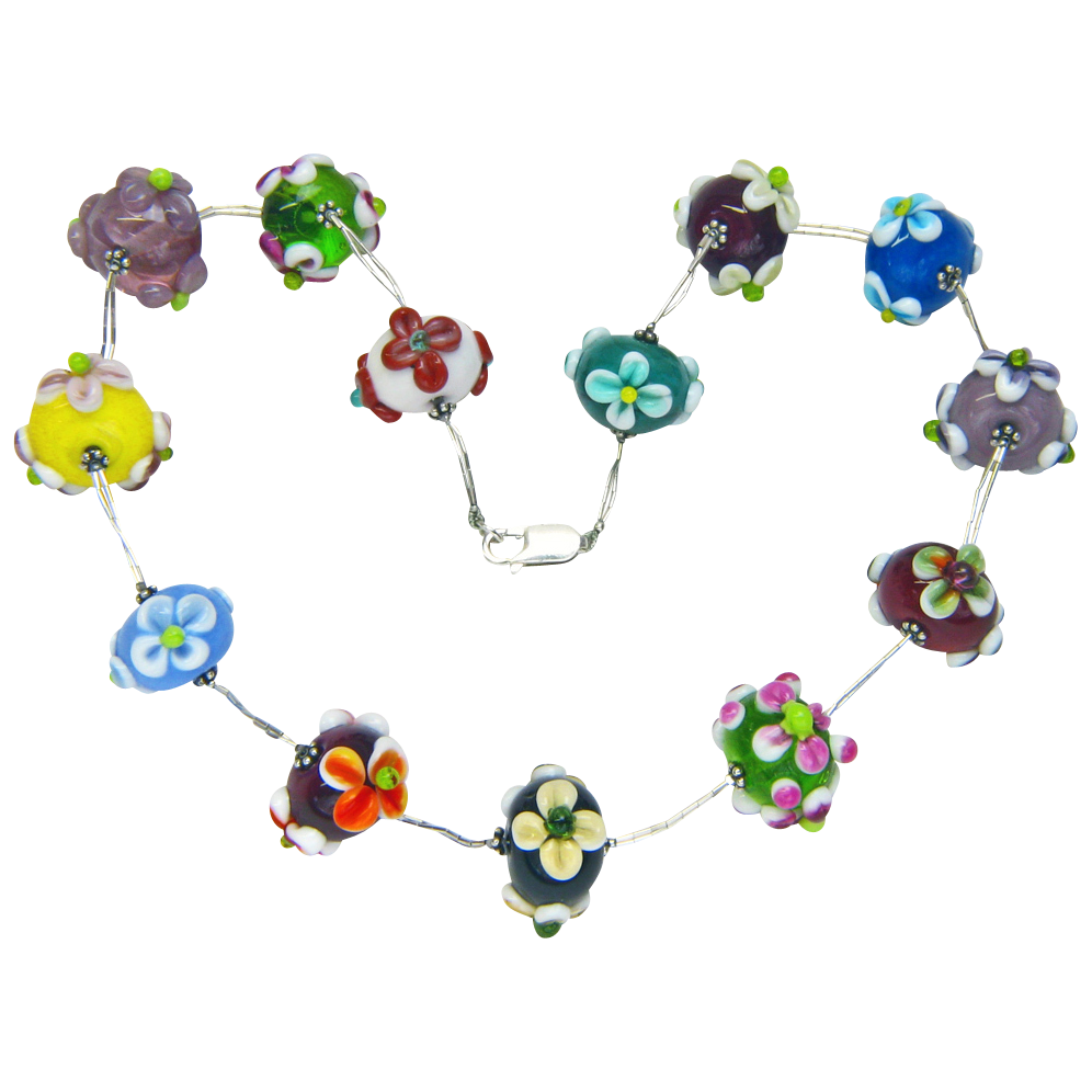 Lampwork Flowery Glass Bead Choker from Sweetpea Cottage  Studio