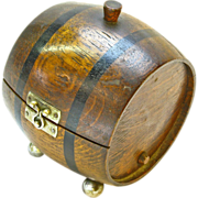 Barrel Cigarette Box Humidor, Ca. 1920