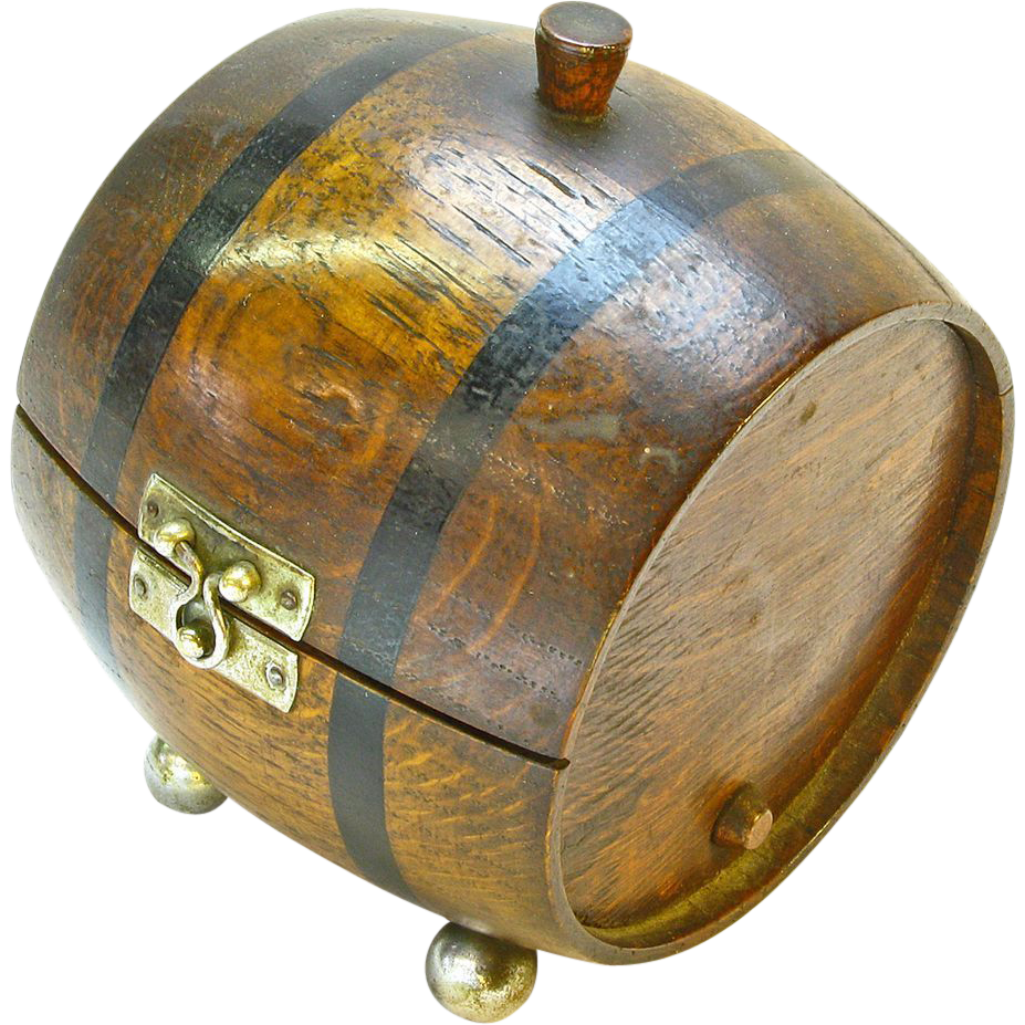 Barrel  Box Cigarette Humidor, Ca. 1920
