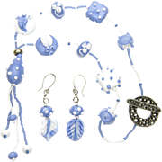 Artisan Necklace with Our Own Periwinkle Floral Lampwork Beads