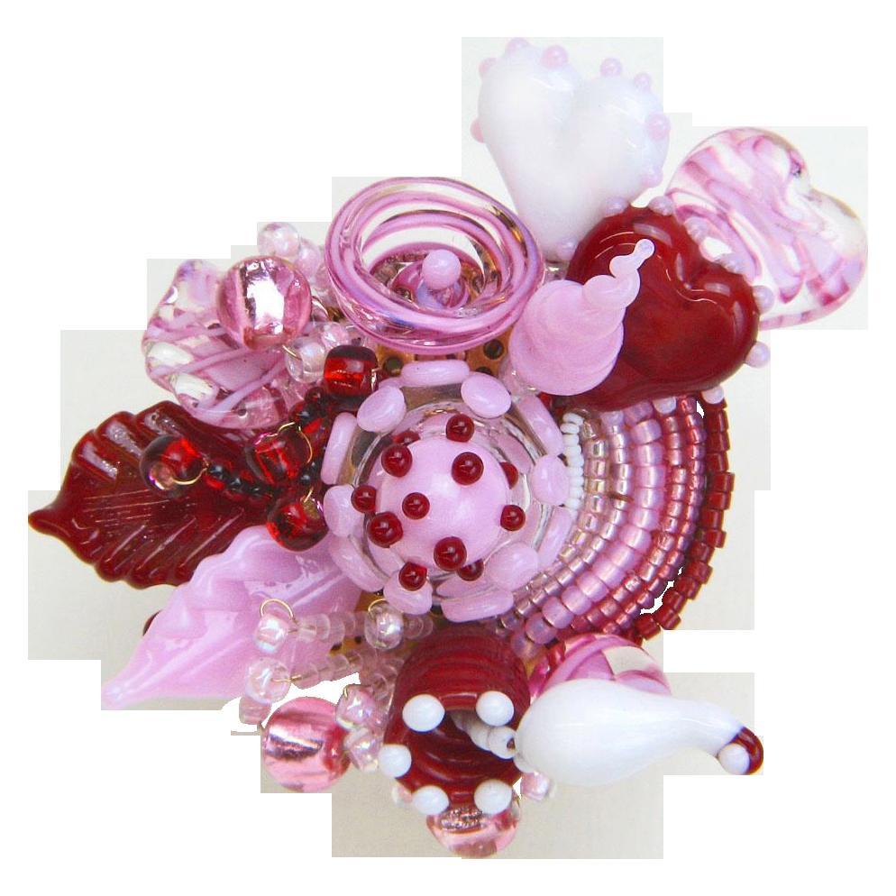 Wonderful Sweetheart Corsage Brooch/Pin in Handmade Lampwork Beads