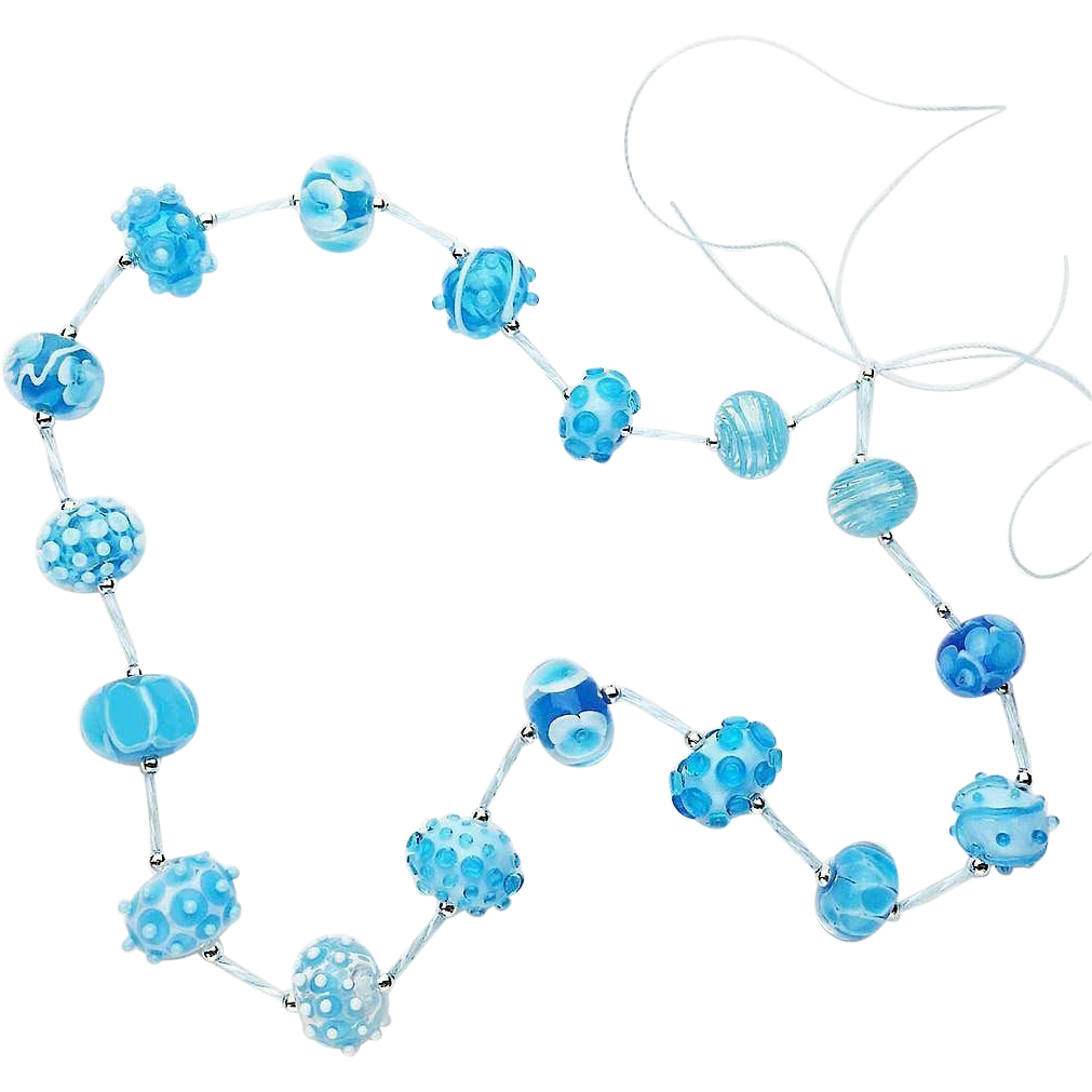 Summery Sky Blue & Aquamarine Lampwork Glass Bead Suite from our Hot Glass Shop at Sweetpea Cottage