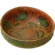 Norwegian Telemark Rosemaling Decorated Ale Bowl, Dated 1868