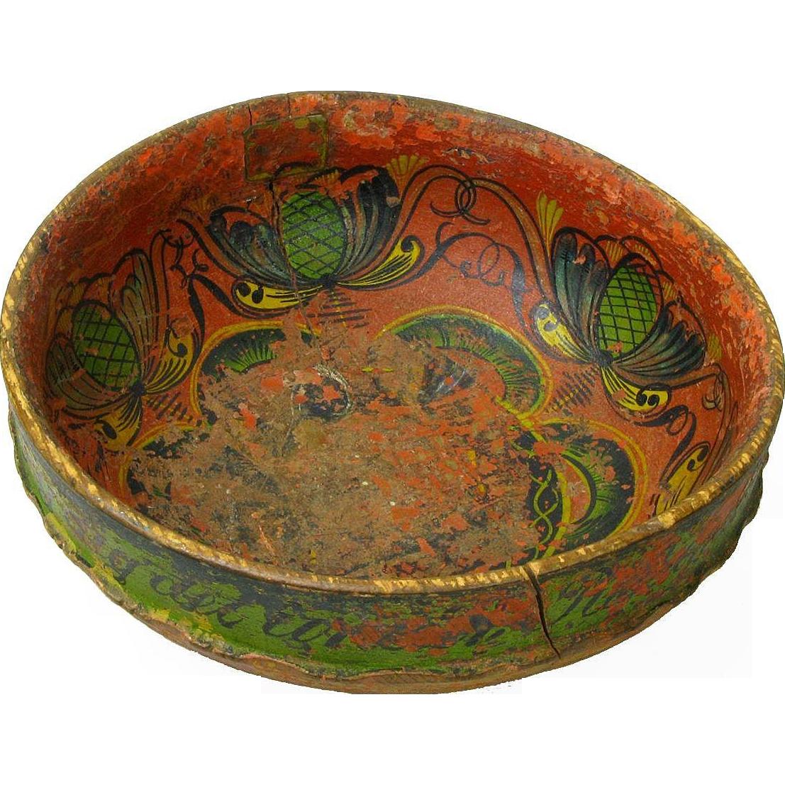 Norwegian Telemark Rosemaling Decorated Ale Bowl, Dated 1868