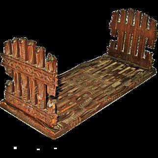 Black Forest Carved Expanding Book Rack w/Gate Design