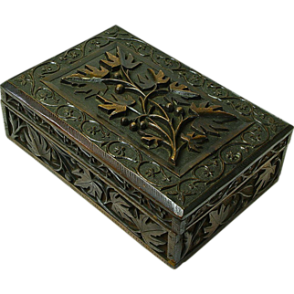 Offers Considered! Heavily Carved Black Forest Style Walnut Desk Box