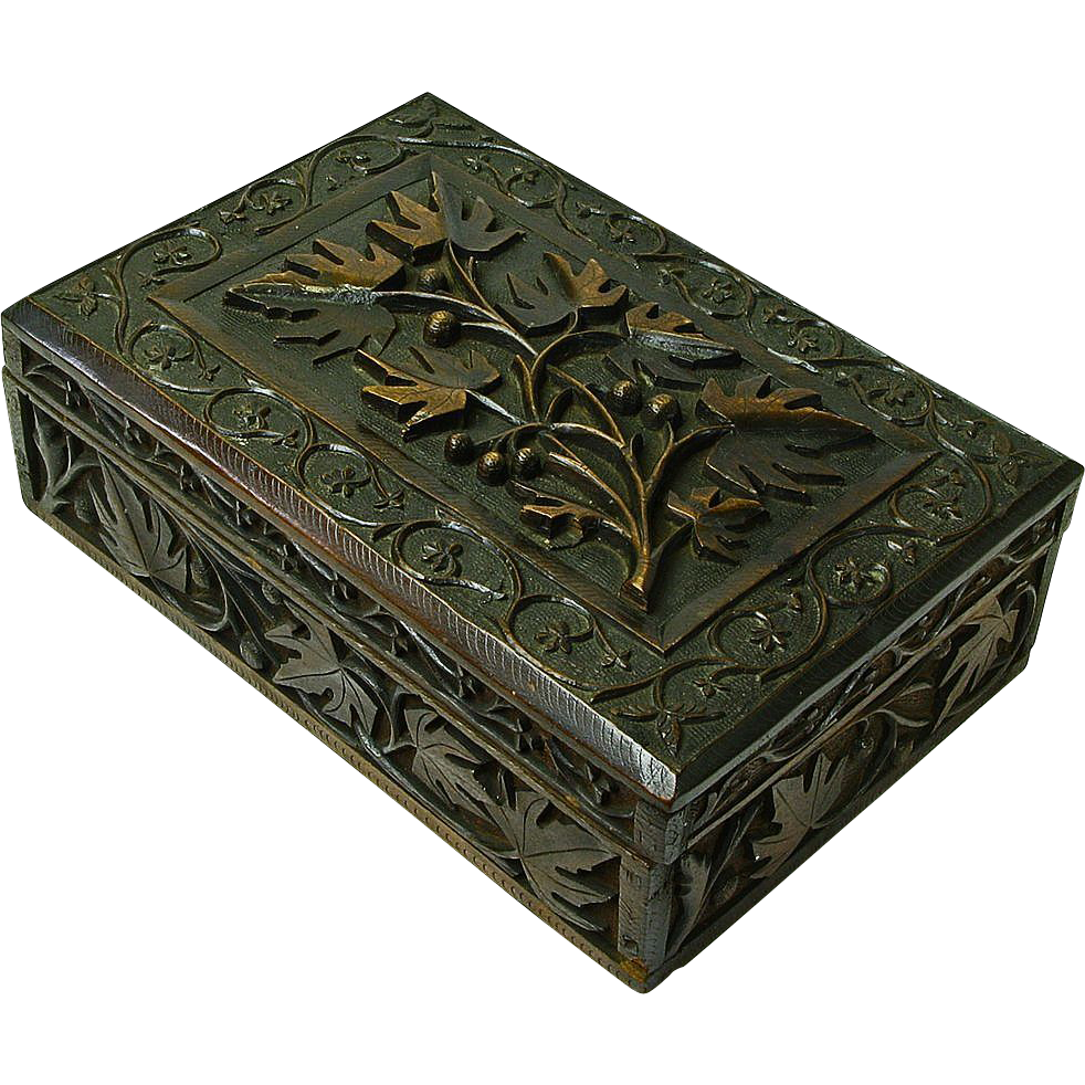 Heavily Carved Black Forest Style Walnut Desk Box